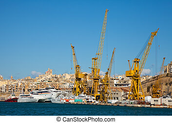 dry dock - Ships in dry dock at Grand harbour Valletta,...