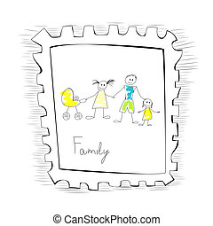 Illustration with happy family