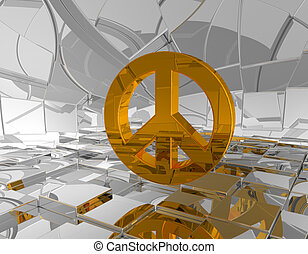 pacific - golden pacific symbol in futuristic space - 3d...