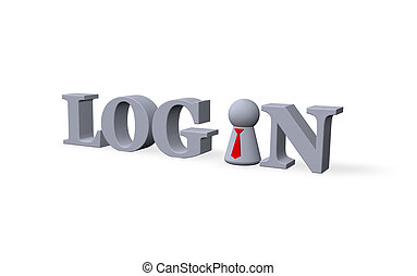 login - play figure with tie and the word login - 3d...