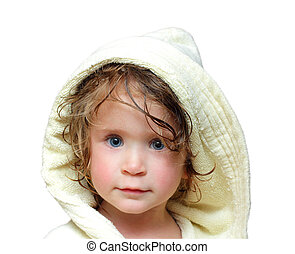 cute girl in bathrobe portrait 2 years old