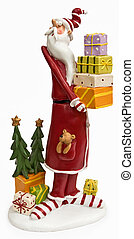 Funny tall skinny Santa Claus in red coat isolated on white...