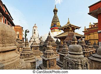 Swayambhunath (monkey temple) stupa on sunset Kathmandu,...