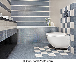 Modern bathroom in blue and gray tones with toilet