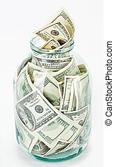Many 100 US dollars bank notes in a glass jar