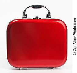 Red small suitcase - A glossy red suitcase with rounded...