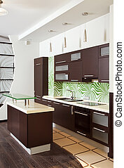 Modern Kitchen interior with hardwood furniture