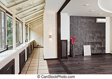 Modern studio and balcony (gallery) interior with pvc...
