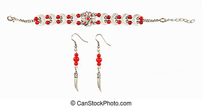 Ethnic Tibetan bracelet ear rings with red beads