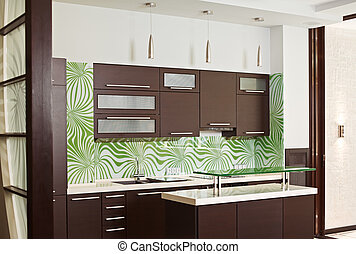Modern Kitchen interior with hardwood furniture - Modern...