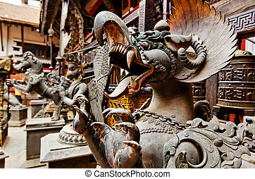 Fearful monster statue, Kathmandu, Nepal - Fearful monster...