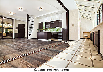 Modern kitchen (studio) interior with balcony - Modern...