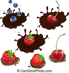 Berry In Chocolate, Isolated On White Background, Vector...