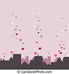 City Panorama With Hearts, Vector Illustration