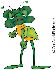 Green Long-legged Bug - Colored Cartoon Illustration, Vector