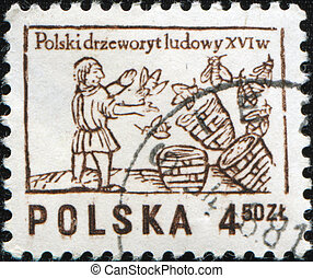 beekeeper - POLAND - CIRCA 1963: A stamp printed in Poland...