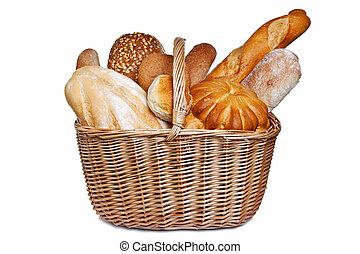 Assortment of bread in basket isolated