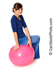 Exercises on a gymnastic ball - Instructor taking exercise...