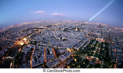 Paris at Dusk with Light Beam from Eiffel Tower