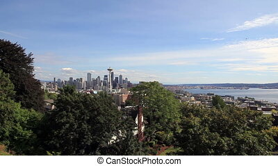 Downtown Seattle Skyline with Plane Flying