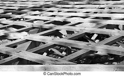 Lattice Wood roof - Black and white image of wood lattice...