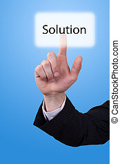 hand push on solution button - Man hand push on solution...