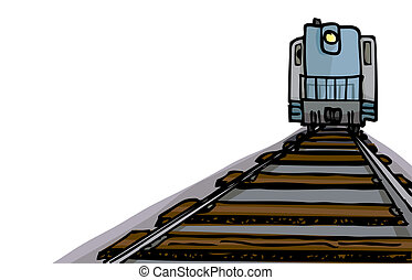 One-Point Locomotive - Cartoon of an oncoming diesel...