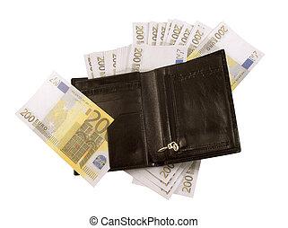 200, lotti, note, borsellino, nero,  euro