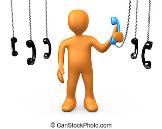 The most important phonecall - 3d person holding a blue...