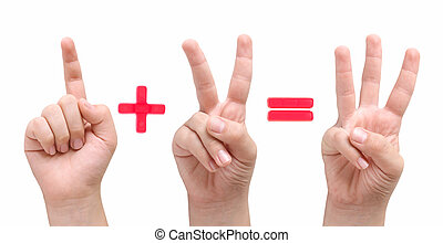 1 + 2 = 3 - Children fingers showing one plus two equal...