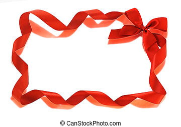 Red Bow ribbons border isolated on white with copy space