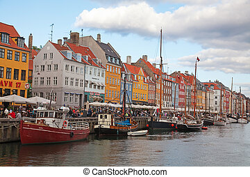 Copenhagen Nyhavn district in the early evening