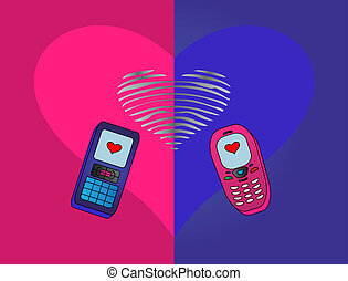 phones enamoured - mobile phones, enamoured each other,...