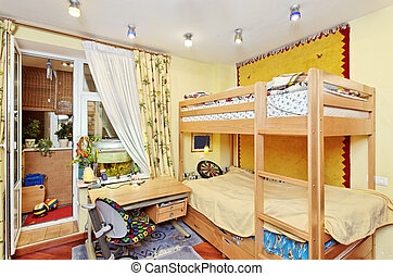 Nursery room interior with two-high wooden bed