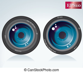 camera lens - Camera lens is tinted blue on a white...
