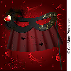 black half mask - against the red background of the carnival...
