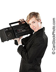 Young man with stereo player - Blond handsome smiling young...