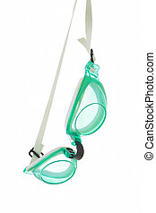 Swimming goggles - Hanging swimming goggles on white...