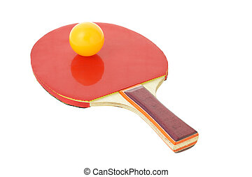 Table tennis bat and ball on white background