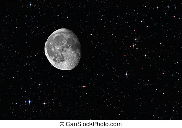 Waning gibbous moon among the stars in the background