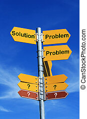 Problem or solution - Problem or solution direction sign