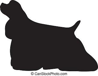 chien, silhouette, vecteur