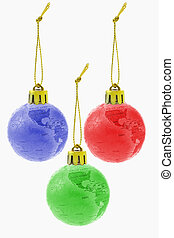 Three Christmas colorful globe ornaments on white background