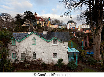 Winter scene at Portmeirion in Wales - Portmerion village on...