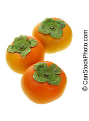 Persimmon fruits - Three fresh persimmon fruits on white...