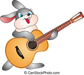 Rabbit with guitar vector - Rabbit with guitar isolated on...