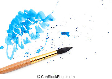 brush with blue paint stroke
