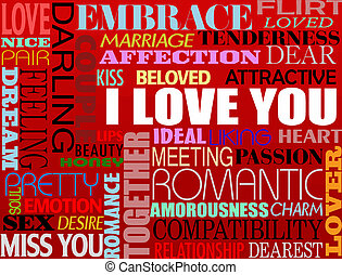 various love words - Abstract colorful illustration with...