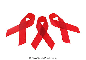 AIDS awareness ribbons arranged on white background