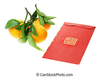 Chinese red packet and mandarin oranges